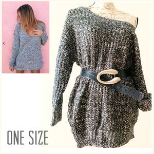 NWOT Gray knit ONE SIZE long Sweater